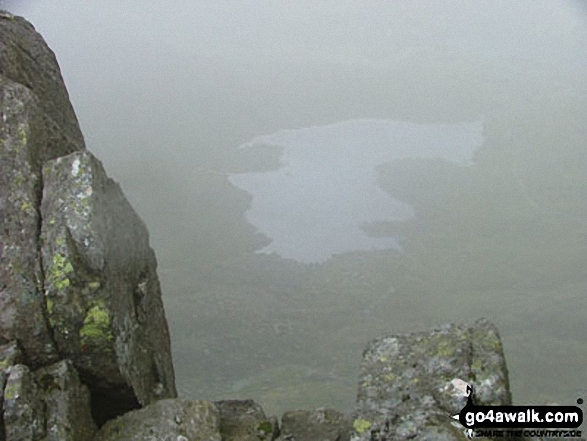 Llyn Bochlyd through the cloud from Glyder Fach