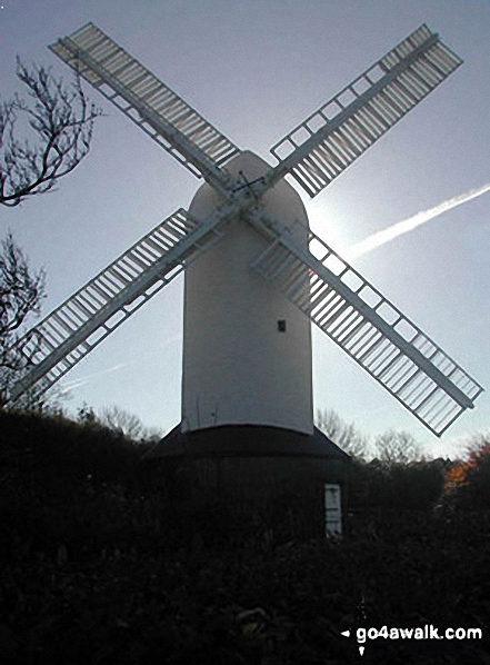 Jill Windmill, Clayton. Walk route map es145 Jack and Jill from Ditchling Beacon photo