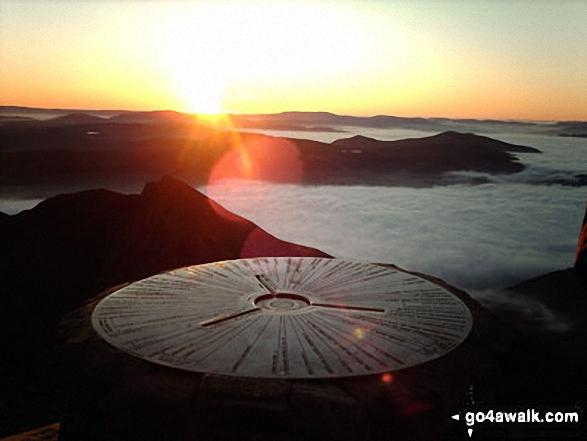 Temperature Inversion seen from the summit of Snowdon (Yr Wyddfa). Walk route map gw107 Snowdon and Yr Aran from Rhyd Ddu photo