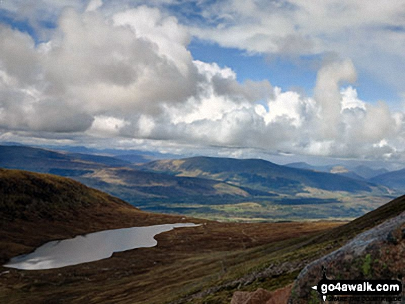 Lochan Meall an t-Suidhe from the Tourist Path up Ben Nevis. Walk route map h137 Ben Nevis and Carn Mor Dearg from Achintee, Fort William photo