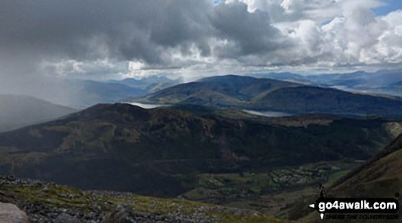 Looking east towards Loch Linnhe from the tourist path up Ben Nevis above Lochan Meall an t-Suidhe. Walk route map h137 Ben Nevis and Carn Mor Dearg from Achintee, Fort William photo