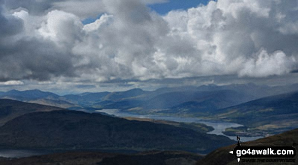 Looking south east towards Loch Linnhe from the Fort William route up  Ben Nevis. Walk route map h100 Ben Nevis via The Tourist Path from Achintee, Fort William photo