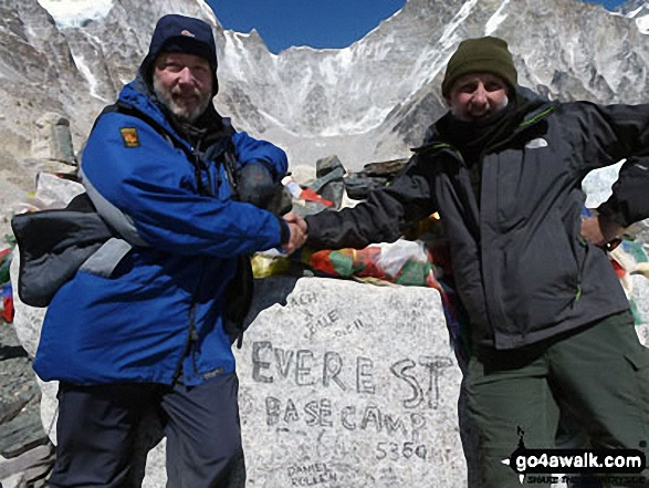 Chris Foster (left) John McMullen (right) at Everest Base Camp (South) in Nepal, 5,364m (17,598ft) above sea level.