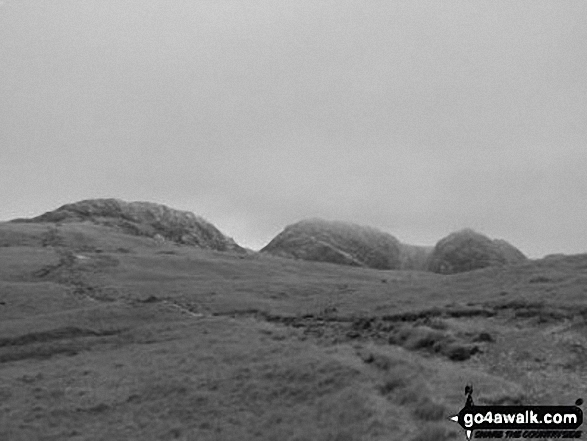 Crinkle Crags (South Top), Crinkle Crags (Long Top) & Gunson Knott after leaving Red Tarn (Langdale)
