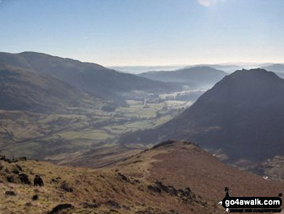 Early morning mist over Grasmere with Heron Pike (left) and Helm Crag (right) from Steel Fell (Dead Pike)