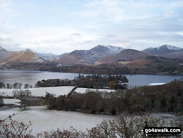Snow on Derwent Water with Cat Bells (Catbells) (left) and Casuey Pike (centre) and Grisedale Pike (right). Walk route map c399 Cat Bells and Derwent Water from Keswick photo