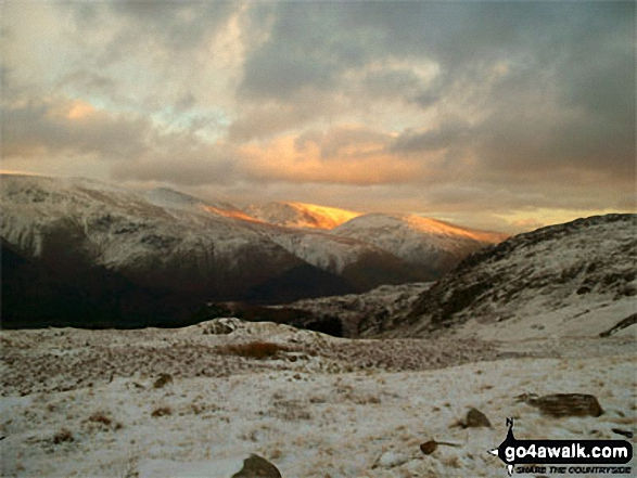 Sunset on Helvellyn, Fairfield (centre) and Seat Sandal from High Seat (Ashness Fell)