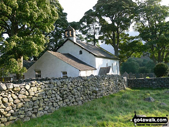 Newlands Church. Walk route map c345 Knott Rigg and Ard Crags from Little Town photo