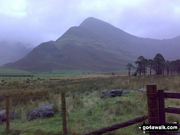 Fleetwith Pike from the Southern shore of Buttermere. Walk route map c228 Hay Stacks from Buttermere photo