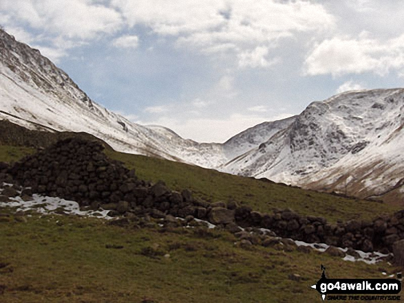 Looking up to a snowy Threshwaite Mouth from Brothers Water. Walk route map c128 The Hayswater Round from Hartsop photo
