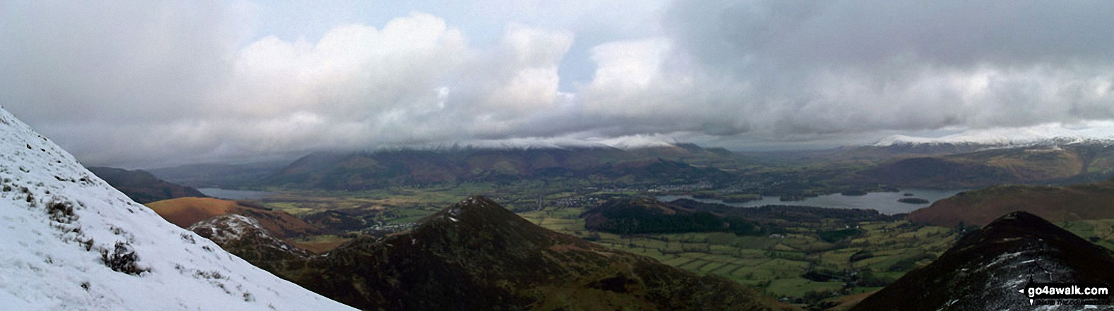 Barrow and Rowling End, with Keswick and Derwent Water beyond and Skiddaw and Blecathra (or Saddleback) in the background from Causey Pike