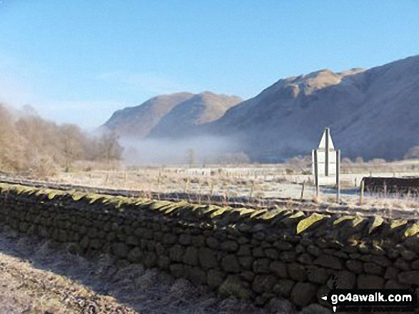 Early Morning Mist nr Hartsop Village with The Angletarn Pikes and Place Fell in the background. Walk route map c128 The Hayswater Round from Hartsop photo