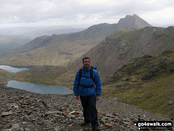On the way up Snowdon (Yr Wyddfa) on the PYG track with Cribau and Y Lliwedd prominent in the background. Walk route map gw198 The Welsh 3000's (Snowdon Area) from Pen y Pass photo