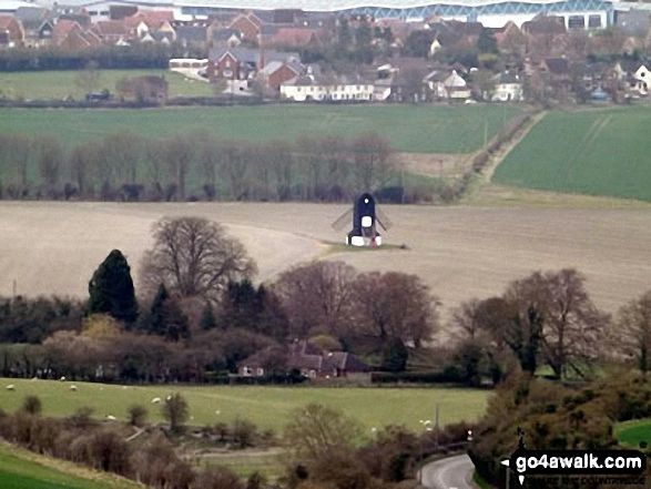 Pitstone Windmill from Ivinghoe Beacon Pitstone Windmill is one of Britain's oldest surviving mills