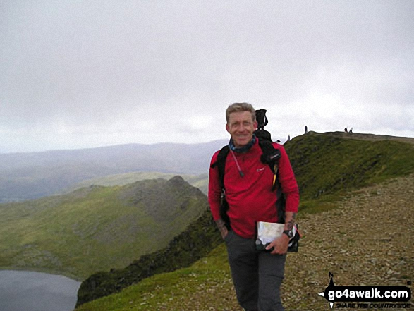 Me on Helvellyn summit walk The Lake District Cumbria England walks