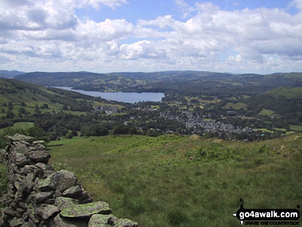 Lake Windermere and Ambleside from the lower slopes of Snarker Pike. Walk route map c230 The Scandale Beck Horizon from Ambleside photo