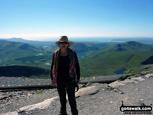 My wife Donna near the top of Mount Snowdon. Walk route map gw198 The Welsh 3000's (Snowdon Area) from Pen y Pass photo