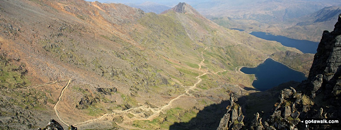 The PYG Track and The Miners' Track, Craig Fach, Llyn Llydaw (top) and Glaslyn (bottom) from Snowdon (Yr Wyddfa)