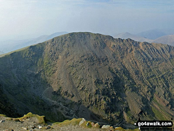 Garnedd Ugain (Crib y Ddysgl) - The 2nd highest mountain in England and Wales from the highest - Mount Snowdon (Yr Wyddfa). Walk route map gw105 Snowdon via The Watkin Path from Nantgwynant photo