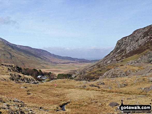 Ogwen Cottage, Nant Ffrancon and the shoulder of Pen yr Ole Wen from Llyn Idwal