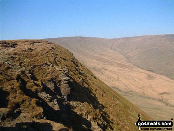 Craig y Fan Ddu. Walk route map po131 Bwlch y Ddwyallt and Fan y Big from Blaen y Glyn photo