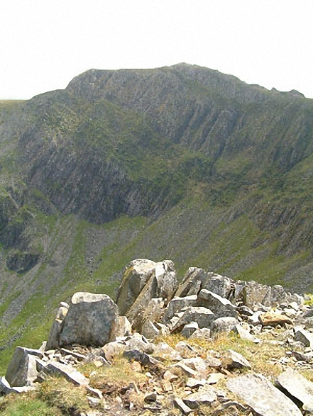 Cadair Idris (Penygadair) summit from Cyfrwy. Walk route map gw103 Cadair Idris (Penygadair), Cyfrwy and Gau Graig via The Minffordd Path photo