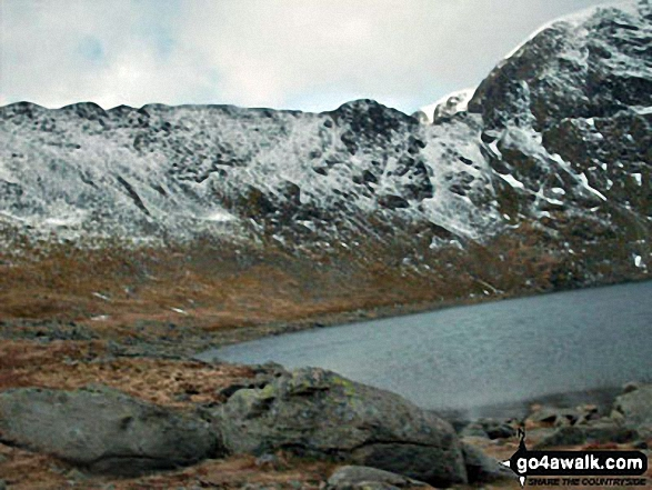 Striding Edge, Helvellyn and Red Tarn from below Swirral Edge