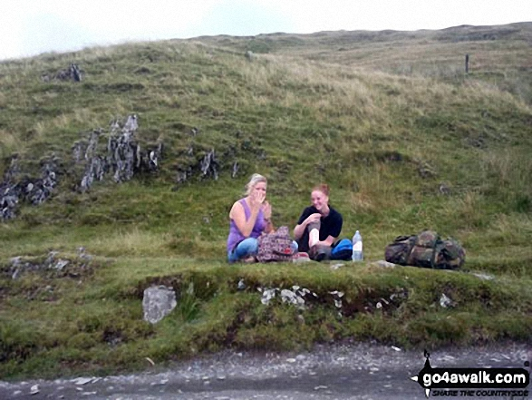 Me and Janine on our way up Snowdon. Walk route map gw117 Snowdon and Yr Aran via The Watkin Path from Nantgwynant photo