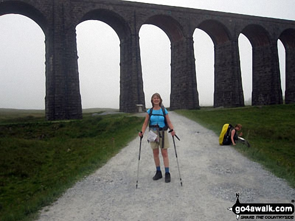 Me at Ribblehead Viaduct. Walk route map ny101 The Yorkshire Three Peaks from Horton in Ribblesdale (New 2013 Route) photo