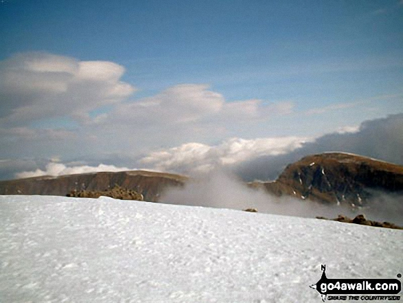 Anocah Mor (left) and Anoach Beag (right) from the summit of Ben Nevis. Walk route map h137 Ben Nevis and Carn Mor Dearg from Achintee, Fort William photo