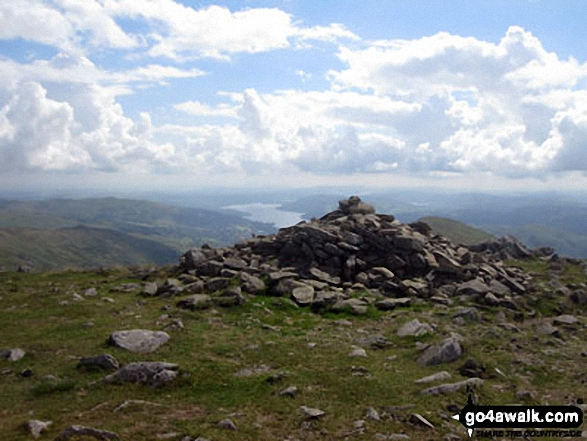 Fairfield summit cairn with Windermere in the distance. Walk route map c247 The Fairfield Horseshoe from Ambleside photo