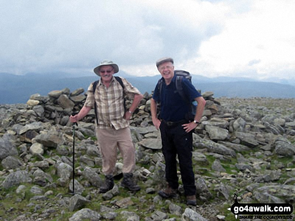 Fellow go4awalkers Chris and Alan on Fairfield summit. Walk route map c358 Seat Sandal, Fairfield and Heron Pike from Grasmere photo