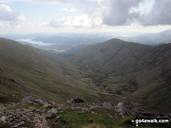 The Fairfield Horseshoe from the summit of Fairfield with Dove Crag (left), Rydal Beck, Ambleside, Windermere, Nab Scar and Heron Pike (prominent right)