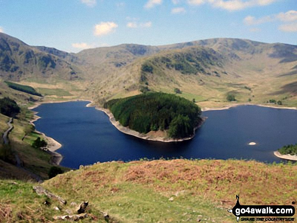 The Rigg and Haweswater Reservoir with Rough Crag and High Street beyond from The Old Corpse Road on Mardale Common. Walk route map c251 The Mardale Head Horizon from Mardale Head photo