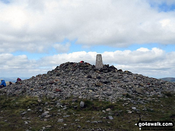 Windy Gyle summit cairn and trig point