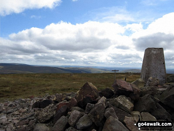 The Pennine Way from Windy Gyle summit trig point. Walk route map n157 Swineside Law and Windy Gyle from Wedder Leap, Barrowburn photo