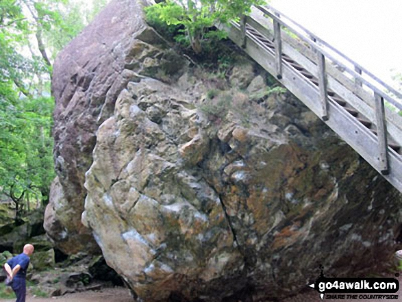 The famous Bowder Stone below King's How in Borrowdale, south of Keswick