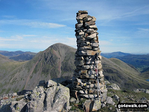 Lingmell summit cairn with Great Gable in the background