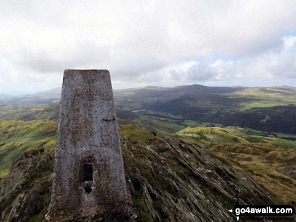 Caw (Dunnerdale Fells) summit trig point. Walk route map c164 Caw (Dunnerdale Fells), Pikes (Caw) and Green Pikes (Caw) from Seathwaite, Duddon Valley photo