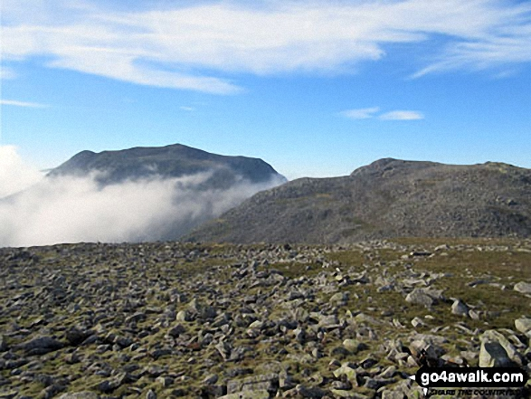 Scafell Pike (left) and Broad Crag (right) from Ill Crag. Walk route map c194 Scafell Pike from The Old Dungeon Ghyll, Great Langdale photo