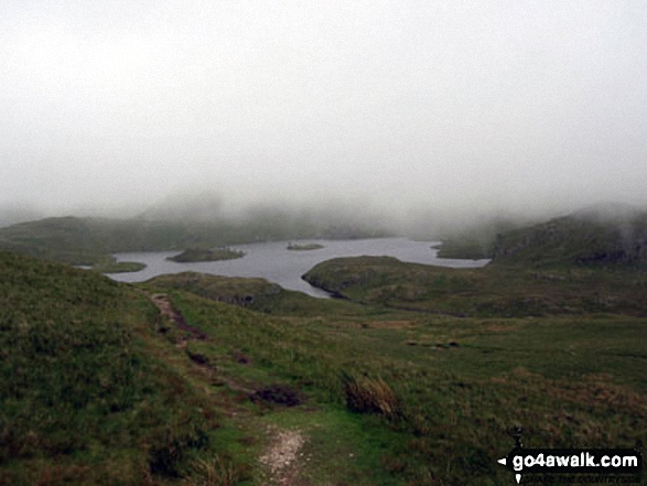 Cloud cover over Angle Tarn (Martindale). Walk route map c304 Beda Head and Place Fell from Howtown photo