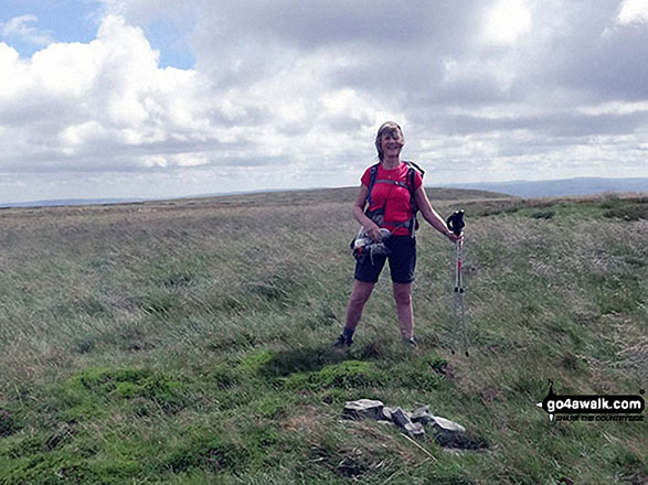 Me with the very small summit cairn on Little Fell (Burton Fell)