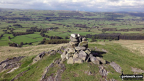 Eskholme Pike summit cairn and view