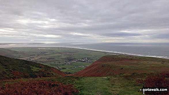 Looking back to Millom and Duddon Sands from the path up Black Combe. Walk route map c150 Black Combe from Whicham Church photo