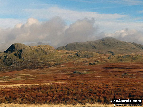 Harter Fell (Eskdale) (right) and Green Crag (Ulpha Fell) (left) from Great Worm Crag
