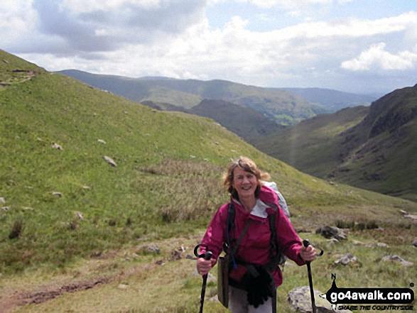 Climbing Lining Crag towards Greenup Edge. Walk route map c270 Low Saddle and Ullscarf from Stonethwaite photo