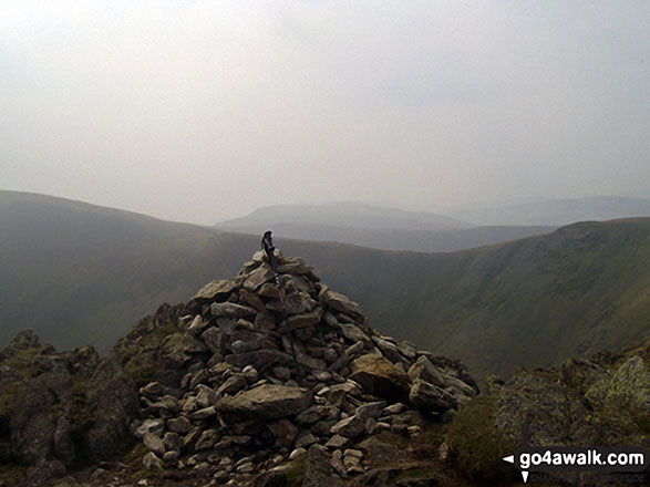 Kidsty Pike summit cairn. Walk route map c114 High Street from Mardale Head photo