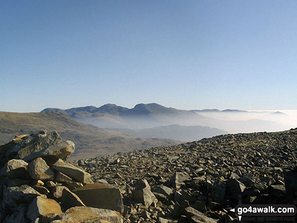 The Scafell Massif from the summit of Haycock Scafell Pike is in the centre, just to the right of the dip (Mickledore)