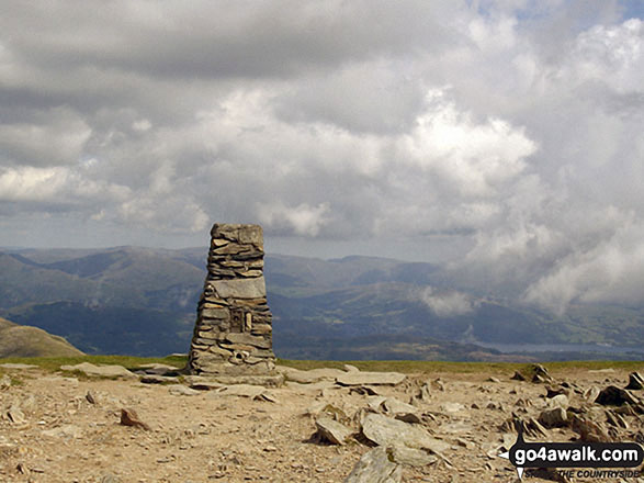 Walk c420 The Coniston Fells from Walna Scar Road, Coniston - The Trig Point on the summit of The Old Man of Coniston