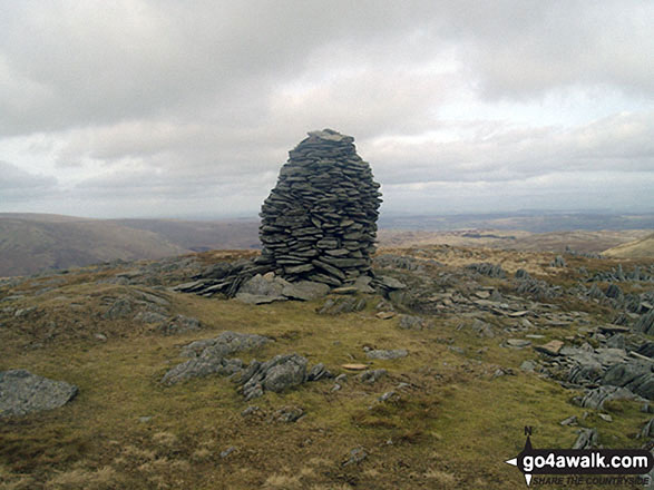 Branstree (Artlecrag Pike) summit beacon. Walk route map c251 The Mardale Head Horizon from Mardale Head photo